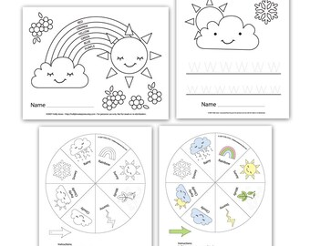 Preschool Printouts - Weather Unit - Printable digital file - Instant Download