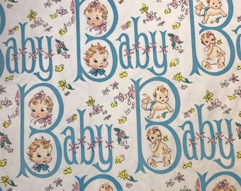 Vintage baby girl or a boy wrapping paper 1960s