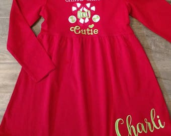Girls Personalized Candycane cutie dress