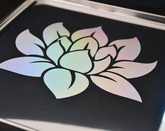 Iridescent Holographic Lotus Flower Rolling Tray - Decorative Tray