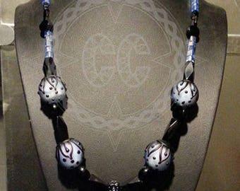 blue gothic bauble necklace