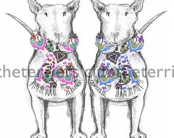 Bull Terrier blank cards Terrier in Spring Scarf! Set of 4