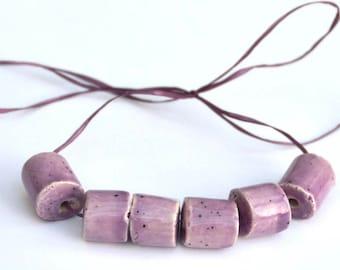 Handmade Ceramic Beads Tube in Speckled Soft Violet