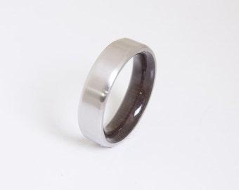 Mens Wood Wedding Band // Titanium Wood Ring // Alternative Wedding Band // Men's wood ring