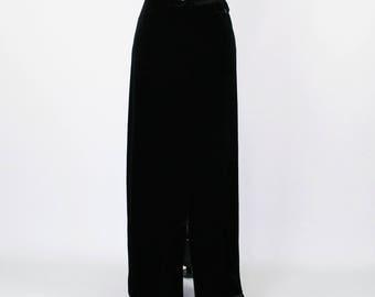 Black Velvet Maxi Skirt Women Large Long Pencil Skirt Straight Skirt Long Skirt Black Skirt Velvet Skirt Size 14 Skirt Womens Clothing