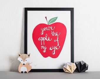 Red Apple Nursery Print, Wall Decor, Children's Bedroom, Nursery Art, Screen Print, Inspirational quote, Pop Art Print, Cool Typography