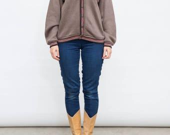 Vintage Brown Cardigan, Courtelle Sweater, Medium Sweater, 90s Preppy Cardi, Retro Acrylic Cardi, Monogrammed Sweater