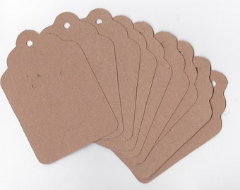Tags | Scalloped Kraft Jewelry Tags | Kraft Earring Tags |  Large Kraft Tags | Craft Show |