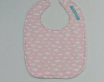 Clouds on Pink Baby Bib, Toddler Bib, Full-cover Bib, Feeding Bib
