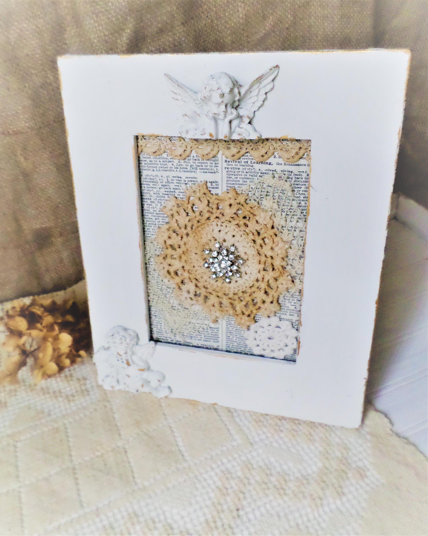 Shabby White Decor Altered Lace Art Cottage Style Vintage