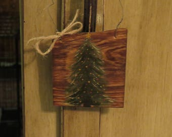 Christmas Tree Ornament - Primitive Look - Hand-painted