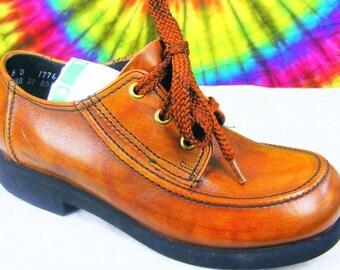 Size 5 D mens vintage 60's-70's brown leather City Club crepe sole oxfords shoes ladies size 6.5-7