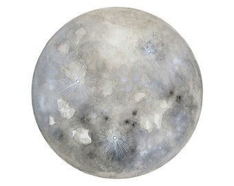 Luna 21 - Archival 8x8 Art Print - Contemporary Minimalist Watercolor Painting - Astronomy, Full Moon - by Natasha Newton