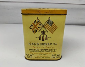 Vintage Boston Harbour Darjeeling Tea Tin Can Container Empty Box