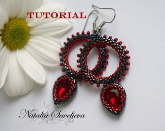 Beading Tutorial, Red Earrings, Jewelry Tutorial,  Bead Pattern PDF, Instant Download.