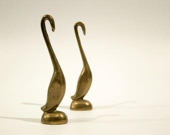Vintage brass bird paperweights