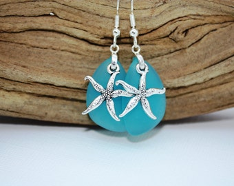 Aqua Sea Glass Earrings, Star Fish, Starfish Earrings Seaglass Earrings Starfish Jewelry Sea Glass Jewelry Beach Jewelry Seaglass Jewelry 69