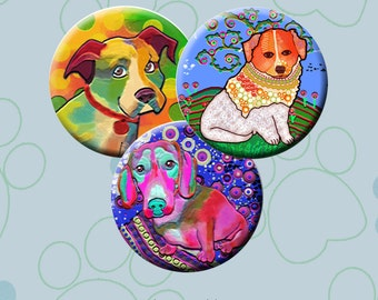 FUNKY DOGS -  Digital Collage Sheet 1.313 inch round images for 1 inch buttons.  Instant Download #216.