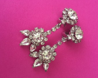 Strass Clip Earrings Glitter 80s 90s