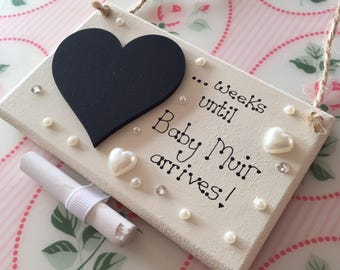 Personalised New Baby Countdown - Chalk Board - Pregnancy Gift