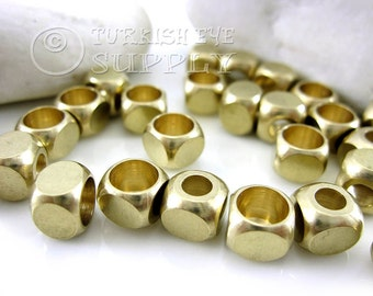 15 Pc 8mm Raw Brass Cube Beads, End Caps, Industrial Findings, Solid Brass Cube Beads, Raw Brass Bead Cap Findings, Metal Beads