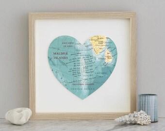 Maldives Map Heart Print - Framed print- maldives map - wedding gift - anniversary gift - engagement gift - honeymoon destination print