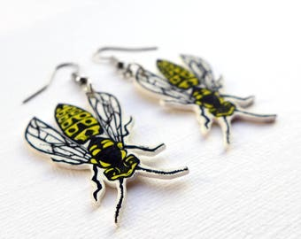 Wasp Earrings -  wasp jewelry, a pair of yellowjacket earrings