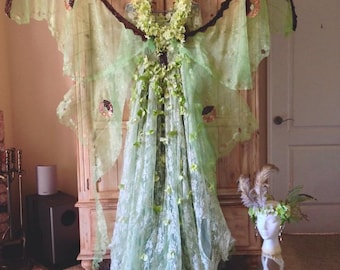 Green Luna Moth Fairy Dress and Fairy Wing Crown