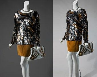 80s Oleg Cassini black, bronze, & silver sequin top   small