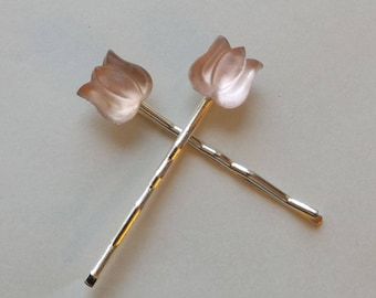 Vintage Pink Tulip Hair Pins - Pair of silver bobby pins - Czech Glass Cabochons