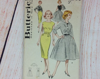 """Original Early 1960s Vintage Sewing Dressmaking Pattern Butterick 9269 Misses Dress and Jacket Duo Size Bust 32"""""""