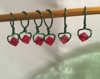 Christmas In July Wire Wrap Stitch Markers, Set of Six With Progress Keeper