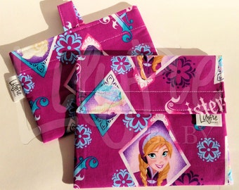 Reusable Sandwich & Reusable Snack Bag Set in FROZEN (Anna, Elsa) print - ECOfriendly - Food Safe - Dishwasher Safe - Back to School