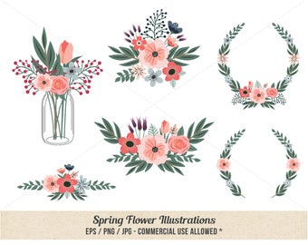 Floral Clipart - Spring Flower Clipart - Hand drawn - Commercial Use - Coral Flowers - Whimsy - Mason Jar