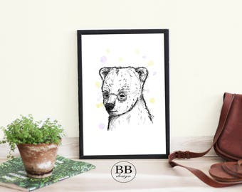 Grizzly Bear Art Print, Grizzly Bear Poster, Bear Decor, Wild Animals, Animal Print, Animal Decor, Animal Art, Home Decor, Digital Download