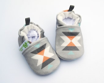 Organic Vegan Knits Block Tribal in Grey / All Fabric Soft Sole Baby Shoes / Made to Order / Babies Booties Shower Gift