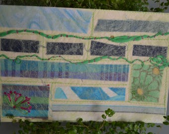 Map graphic textile patchwork and embroidery