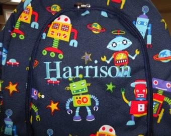 Personalized Boys Backpack- Preschool Backpack TODDLER Backpack Navy ROBOTS Backpack