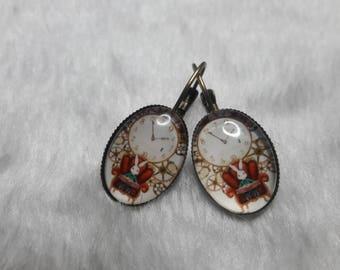 Oval earrings rabbit from Alice