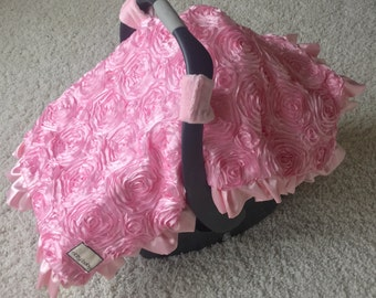 Baby Pink Roses Canopy Blanket, Roses Canopy, Baby Pink Blanket, Car Seat Canopy Blankets with Soft Minky Reverse