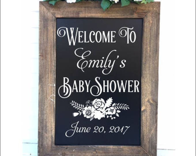 Welcome Baby Shower Decal Vinyl Decal for Baby Shower Celebration Baby Shower Decor DIY Lettering for Chalkboard Floral Personalized Shower