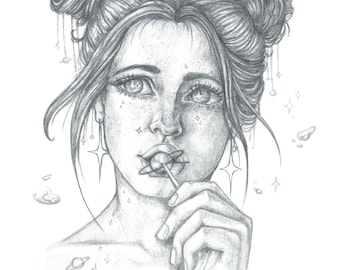"""Space Candy / 8.5"""" by 11"""" Print / Galaxy Drawing / Universe Art / Girl Sketch / Great Artist Gift / Faithful Imagination Artwork"""