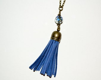 Tassel Necklace, Boho Jewelry, Blue Tassel, Layering Necklace, Long Tassel, Long Necklace, Fringe Tassel, Blue Boho Necklace, Tassel Pendant