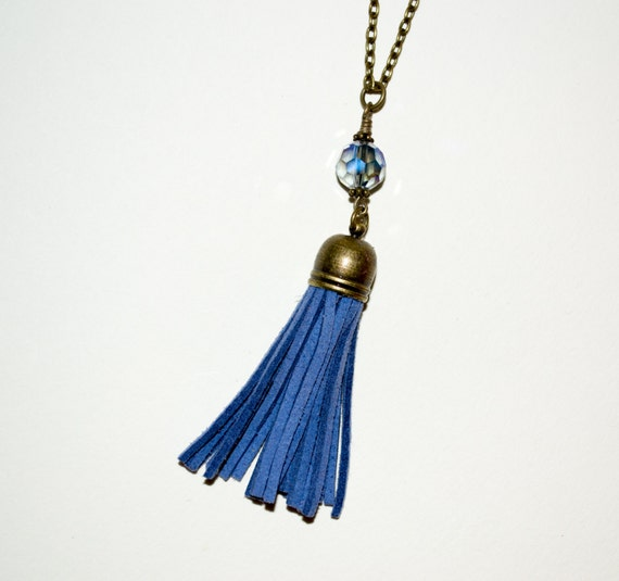 Tassel Necklace, Boho Jewelry, Blue Tassel, Layering Necklace, Long Tassel, Long Necklace, Fringe Tassel, Blue Boho Necklace, Tassel Pendant