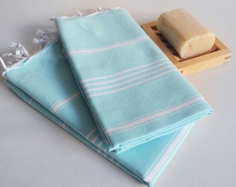 SALE 50 OFF/ Head and Hand Towel / Classic Style / SET / 2 Towels / Ice Blue - White striped