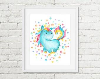 Unicorn Printable Wall Art, Girls Turquoise Pink Watercolor Unicorn Room Decor 8x10 Art Instant Digital Download