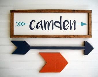 Tribal Nursery Name Sign Set . Woodland Nursery . Name Sign and Arrow Set .Wooden Arrows . Rustic Nursery . Adventure Nursery. Big Boy Room