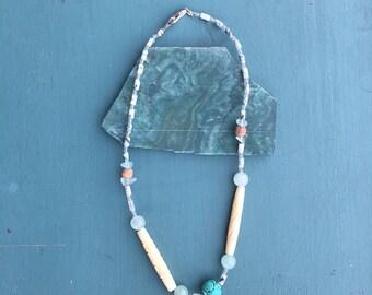 Teal Green Quartz Glass Beaded Choker Short Necklace