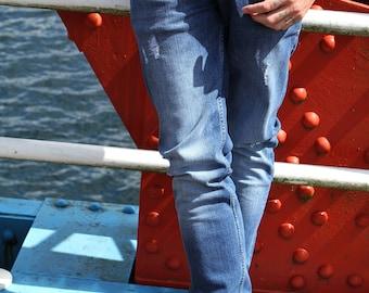 Style: Seka Blue Distressed Slim Fit Jean