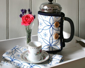 Linen Union Blue Geometric Daisy Patterned Cafetiere Cosy